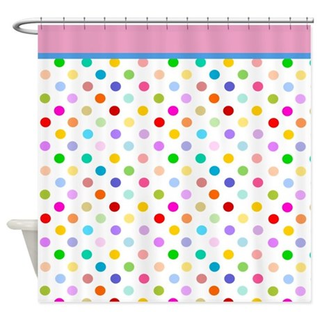 White and Rainbow polka dots shower curtain with pink trim from Cafepress