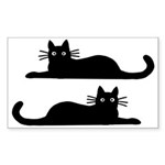 Black Cats Sticker (Rectangle 10 pk)