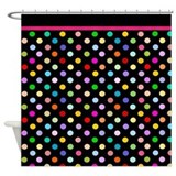 Black and Colorful polka dots shower curtain with hot pink trim from Cafepress
