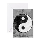 Distressed Yin Yang Symbol Greeting Card