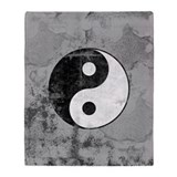 Distressed Yin Yang Symbol Throw Blanket