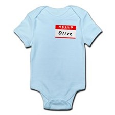Olive, Name Tag Sticker Infant Bodysuit