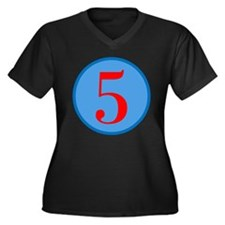 Number Five Birthday Women's Plus Size V-Neck Dark