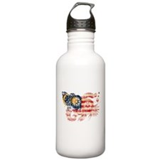 Malaysia textured flower aged copy.png Water Bottle