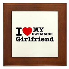Cool Swimmer Girlfriend designs Framed Tile