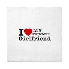 Cool Swimmer Girlfriend designs Queen Duvet