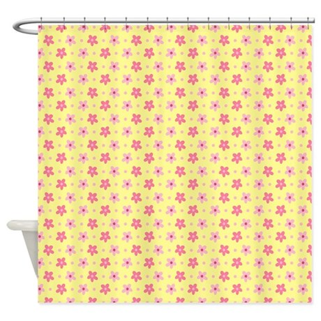 Pink flowers on cheerful yellow background Shower curtain