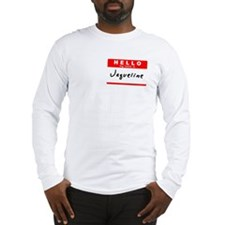Jaqueline, Name Tag Sticker Long Sleeve T-Shirt