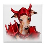 Italian Greyhound Devil Dog Tile Coaster