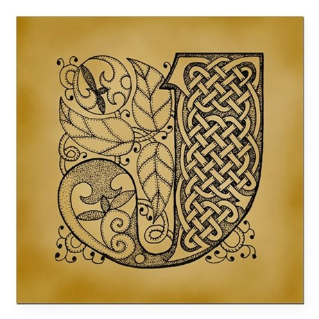 "Celtic Letter J Square Car Magnet 3"" x 3"""