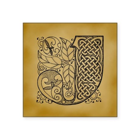 "Celtic Letter J Square Sticker 3"" x 3"""