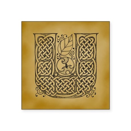 "Celtic Letter U Square Sticker 3"" x 3"""