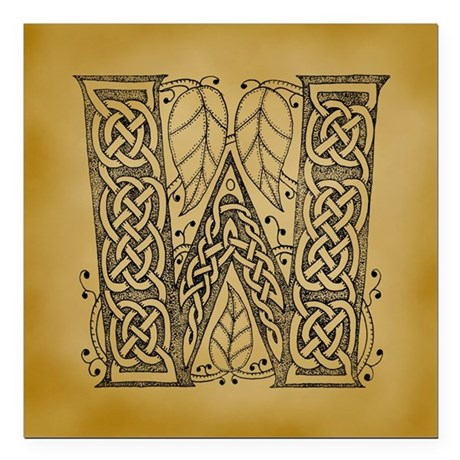 "Celtic Letter W Square Car Magnet 3"" x 3"""