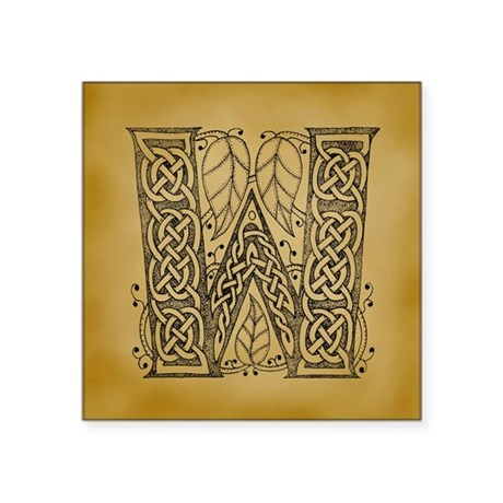 "Celtic Letter W Square Sticker 3"" x 3"""