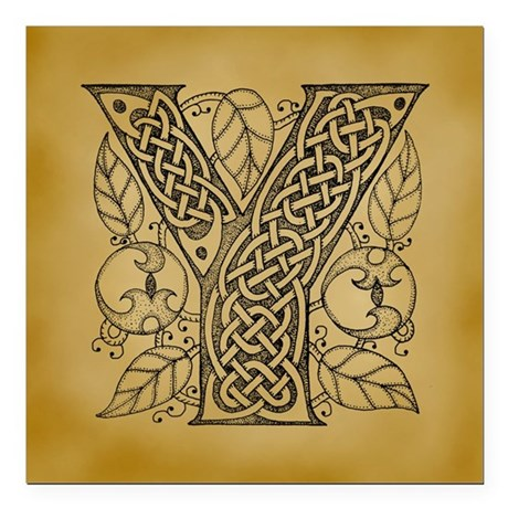 "Celtic Letter Y Square Car Magnet 3"" x 3"""