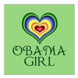 "Obama Girl Square Car Magnet 3"" x 3"""