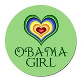 Obama Girl Round Car Magnet