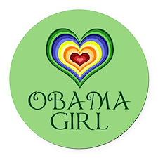 Obama Girl Round Car Magnet