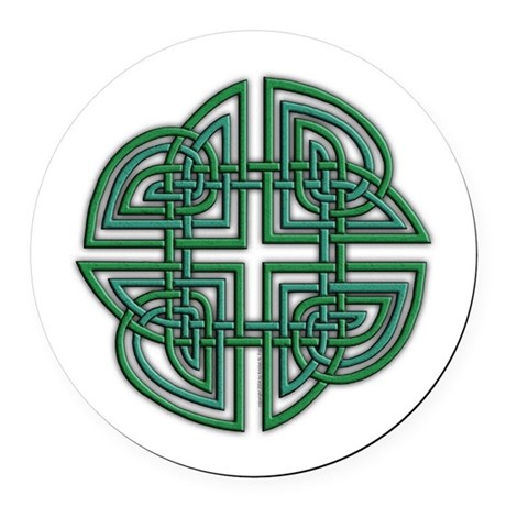 Celtic Four Leaf Clover Round Car Magnet