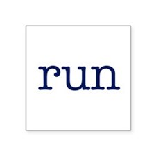 "run_blue_sticker2.png Square Sticker 3"" x 3"""