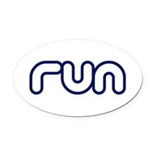 run_blue_sticker.png Oval Car Magnet