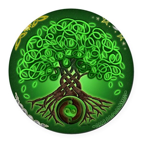 Circle Celtic Tree of Life Round Car Magnet