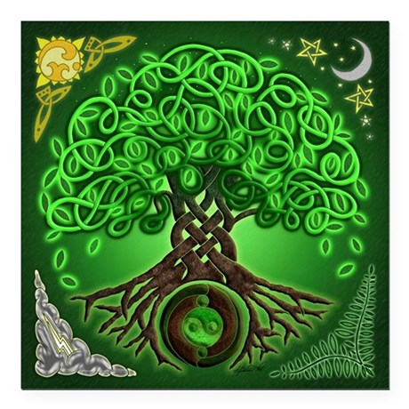 "Circle Celtic Tree of Life Square Car Magnet 3"" x"