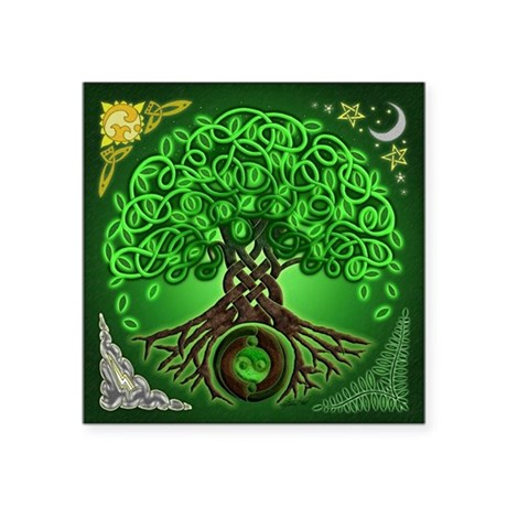 "Circle Celtic Tree of Life Square Sticker 3"" x 3"""