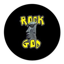 Rock God Round Car Magnet