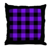 Purple and Black Checkered Throw Pillow