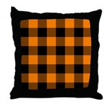 Orange and Black Checkered Throw Pillow