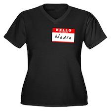 Nadia, Name Tag Sticker Women's Plus Size V-Neck D