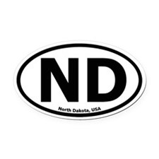 North Dakota Oval Car Magnet