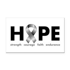 Grey Ribbon Hope Rectangle Car Magnet