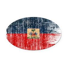 Haiti Flag Oval Car Magnet