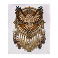 Native American Owl Mandala 1 Throw Blanket