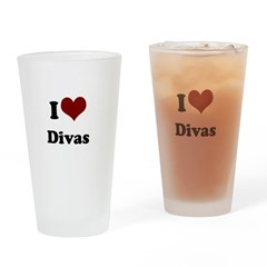 i heart divas.png Drinking Glass