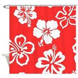 Blue hibiscus Shower Curtains
