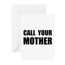 Call Your Mother Black.png Greeting Cards (Pk of 1