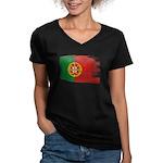Portugal Flag Women's V-Neck Dark T-Shirt
