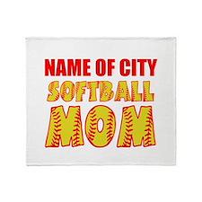 Personalize Softball Mom Throw Blanket