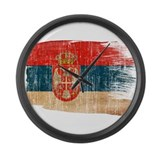 Serbia Flag Large Wall Clock