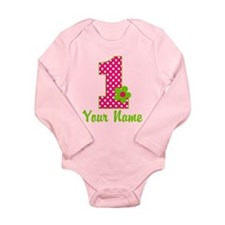 1stbdaypinkgren Long Sleeve Infant Bodysuit