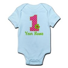 1stbdaypinkgren Infant Bodysuit