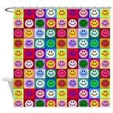 Multicolor Smileys Shower Curtain