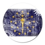 Indiana Flag Round Car Magnet