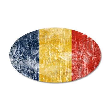 Romania Flag 38.5 x 24.5 Oval Wall Peel