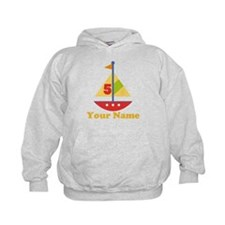 Personalized 5th Birthday Sailboat Hoodie