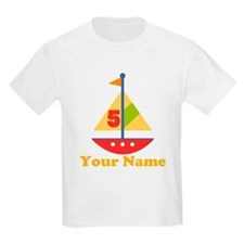 Personalized 5th Birthday Sailboat T-Shirt