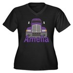 Trucker Amelia Women's Plus Size V-Neck Dark T-Shi